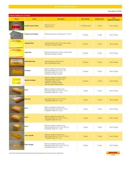 DHL Express Shipping Supplies