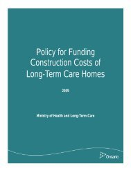 Policy for Funding Construction Costs of Long-Term Care Homes