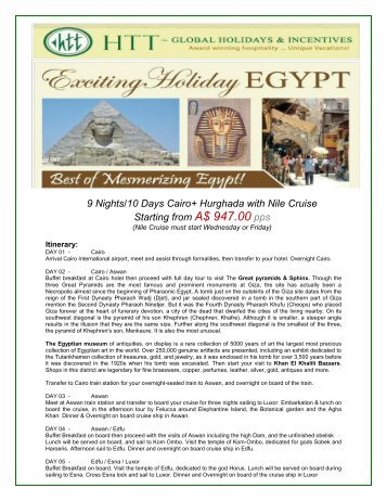 9 Nights/10 Days Cairo+ Hurghada with Nile ... - travelwiz.com.au