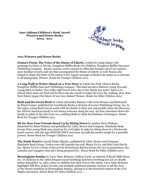 Jane Addams Children's Book Award Winners and Honor Books