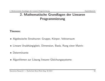 2. Mathematische Grundlagen der Linearen Programmierung