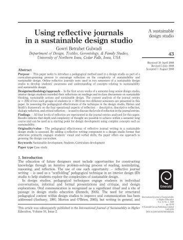 Reflective journal sustainability