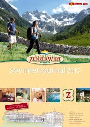 Preisliste Sommer 2013 - Hotel Zenzerwirt