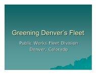 Greening Denver's Fleet - City and County of Denver