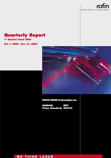Quarterly Report - Rofin