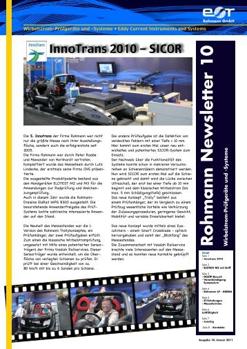 """Newsletter"" Nr.10 - Rohmann GmbH"