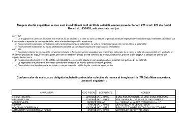 ANUNT contracte colective de munca - ITM Satu Mare