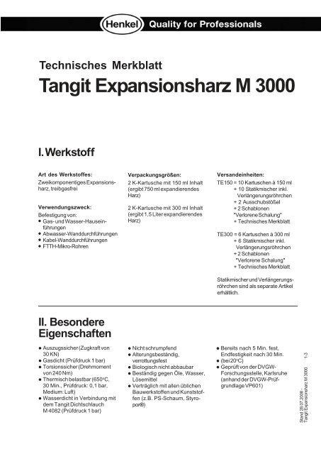Tangit Expansionsharz M 3000 Rohrleitungsbauzubehoer