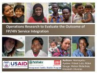 Operations Research to Evaluate the Outcome of FP/HIV Service ...