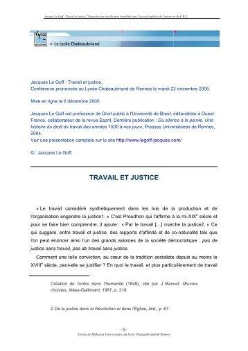 TRAVAIL ET JUSTICE - Lycée Chateaubriand