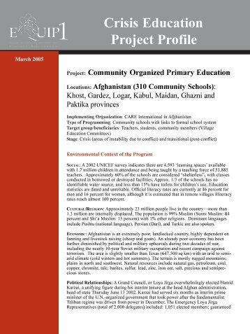 Community Organized Primary Education - EQUIP123.net