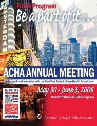 Final Program - American College Health Association