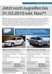 Jetzt noch zugreifen bis 31.03.2010 inkl. Navi*! - BMW