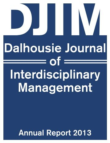 Annual Report - Dalhousie Journal of Interdisciplinary Management