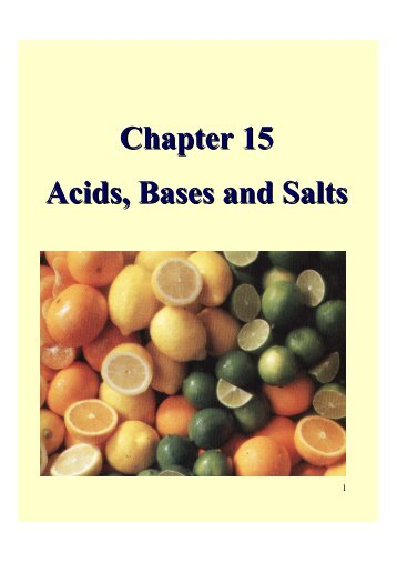 Chapter 15 Acids, Bases and Salts