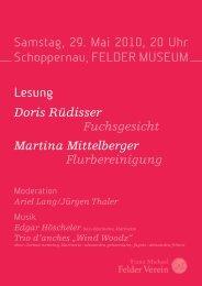 Samstag, 29. Mai 2010, 20 Uhr Schoppernau, FELDER MUSEUM ...