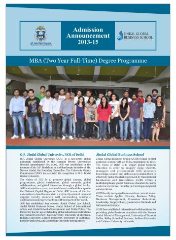JGBS MBA Brochure single page - Jindal Global Business School