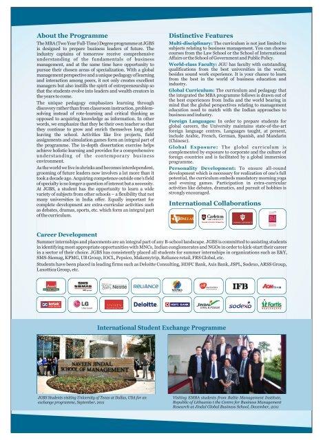JGBS MBA Brochure single page - Jindal Global Business School