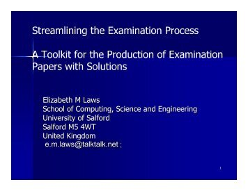 A tool kit for setting examination papers and solutions - ECE