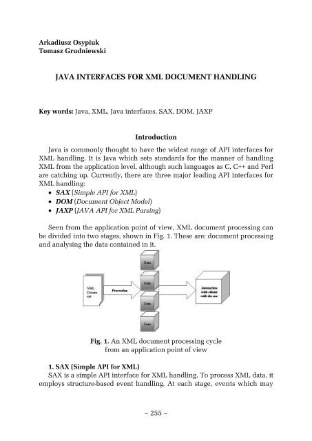 Java Interfaces For Xml Document Handling