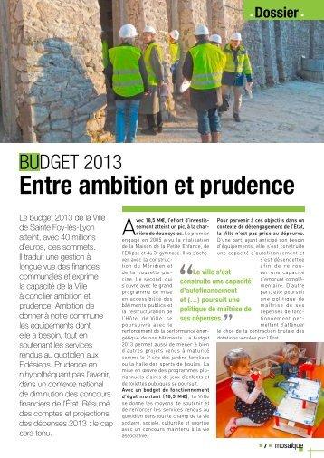 Entre ambition et prudence - Sainte Foy-Lès-Lyon