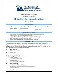 IT Auditing for Internal Auditors - The Institute of Internal Auditors