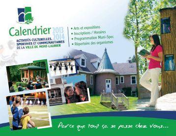 Calendrier des activités 2013-2014 - Ville de Mont-Laurier