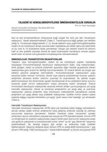 Talasemi ve Hemoglobinopatilerde İmmünohematolojik Sorunlar