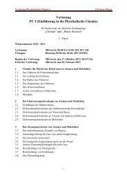 Vorlesung PC I (Einführung in die Physikalische Chemie)
