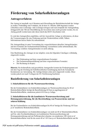 Förderung von Solarkollektoranlagen Antragsverfahren - A. Rolfes