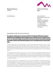 Medienmitteilung Geschäftsbericht 2010 des Zentrum Paul Klee