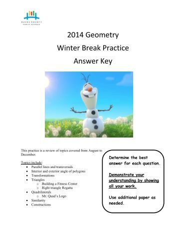 Geometry Winter Break Practice 2014-2015 - Answer Key
