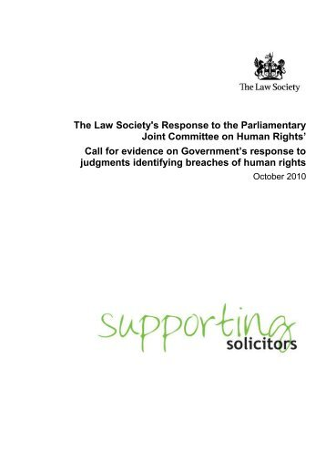 Law Society report on UK's compliance with ECtHR judgments