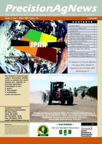 Winter 2003 Volume 2 Issue 1 - SPAA