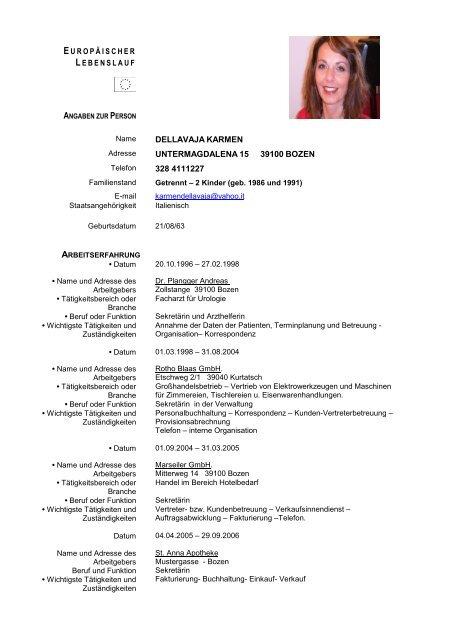 Lebenslauf - Ordinemedici.bz.it