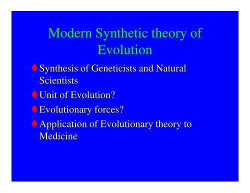 modern synthetic theory of evolution