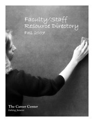 Faculty Staff Resource Directory Fall 2007.indd - The Career Center ...