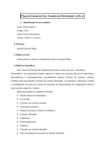 Plano de Ensino do Eixo Temático de Eletricidade A (ELA) - Wiki