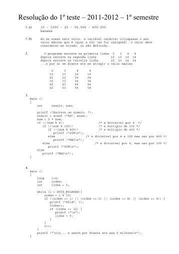 Resolução do 1º teste – 2011-2012 – 1º semestre