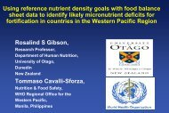 Using reference nutrient density goals with food balance sheet data ...