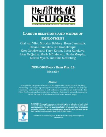 LABOUR RELATIONS AND MODES OF EMPLOYMENT