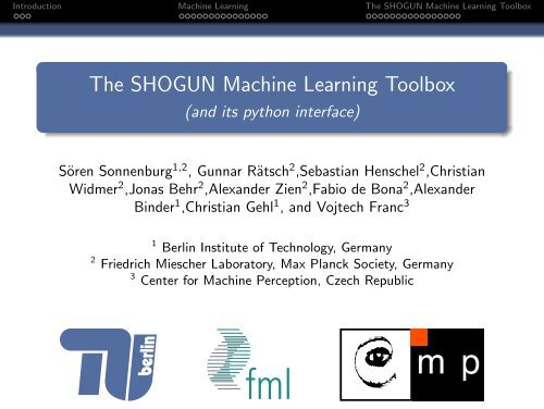 The SHOGUN Machine Learning Toolbox - (and its python interface)