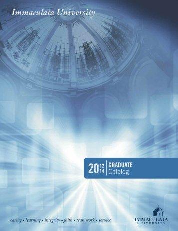 Graduate Catalog 2012-2014 - Immaculata University