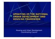 Updating of the National Urban Development and Housing Framework ...