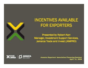 Incentives Available for Exporters - PSOJ