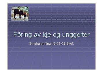 Fôring av kje og ungdyr, Småfesamling 16.01.09 - Nortura