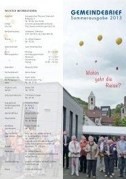 Gemeindebrief Sommer 2013 - Evangelische Kirchengemeinde ...