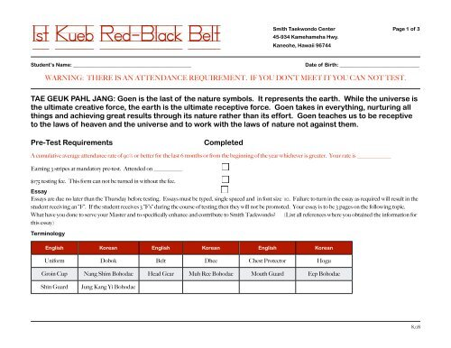 Red-Black belt - Smith Taekwondo Center