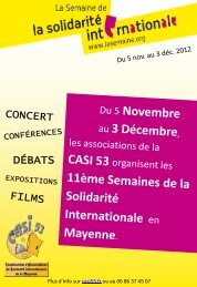 Programme des Semaines de la Solidarité Internationale en Mayenne