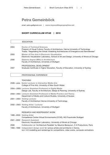 Lebenslauf Petra Gemeinböck als pdf - Digitale Kunst